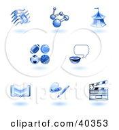 Shiny Blue School Subject Icons