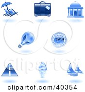 Clipart Illustration Of Shiny Blue Travel And Tourism Icons