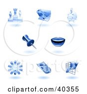 Clipart Illustration Of Shiny Blue Office Icons by AtStockIllustration