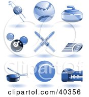 Clipart Illustration Of Shiny Blue Sports Icons