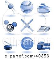 Shiny Blue Sports Icons
