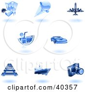 Clipart Illustration Of Shiny Blue Travel Icons by AtStockIllustration