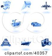 Shiny Blue Travel Icons
