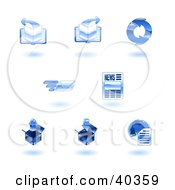Clipart Illustration Of Shiny Blue Internet Icons
