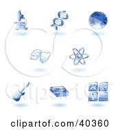 Clipart Illustration Of Shiny Blue Education Subject Icons by AtStockIllustration