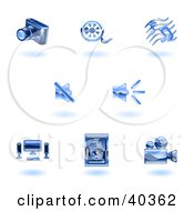 Clipart Illustration Of Shiny Blue Media Icons by AtStockIllustration