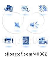 Shiny Blue Media Icons