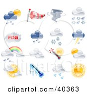Clipart Illustration Of Shiny Colorful Season And Weather Icons by AtStockIllustration