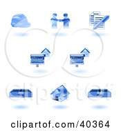 Poster, Art Print Of Shiny Blue Realty Icons