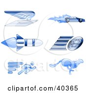 Clipart Illustration Of Shiny Blue Speed Icons by AtStockIllustration