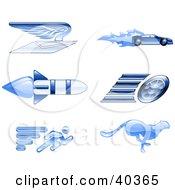 Shiny Blue Speed Icons