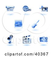 Clipart Illustration Of Shiny Blue Entertainment Icons