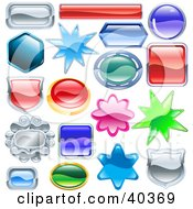 Clipart Illustration Of Shield Burst And Shaped Shiny Design Elements With Space For Text by AtStockIllustration