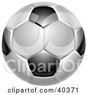 Shiny White And Black Soccer Ball Or Football
