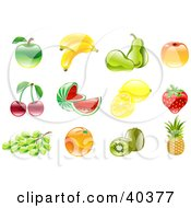 Clipart Illustration Of Shiny Organic Fruit Icons