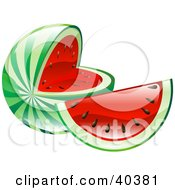 Clipart Illustration Of A Shiny Organic Sliced Watermelon by AtStockIllustration