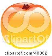 Clipart Illustration Of A Shiny Organic Peach by AtStockIllustration