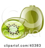 Clipart Illustration Of Shiny Organic Kiwi Fruits by AtStockIllustration