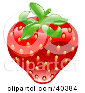 Clipart Illustration Of A Shiny Organic Strawberry by AtStockIllustration