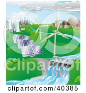Clipart Illustration Of Nuclear Fossil Fuel Wind Power Photovoltaic Cells And Hydro Electric Water Power Generation Farms by AtStockIllustration