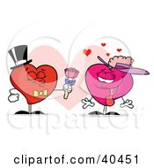 Clipart Illustration Of A Sweet Male Heart In A Hat And Tie Giving Flowers To A Pink Lady Heart