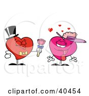 Clipart Illustration Of An Amorous Pink Lady Heart Accepting Roses From A Gentleman Heart