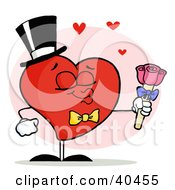 Clipart Illustration Of A Gentleman Heart In A Hat And Bow Tie Holding Out Pink Roses And Puckering His Lips