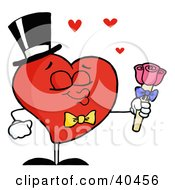 Clipart Illustration Of A Heart Man In A Hat And Bow Tie Puckering His Lips And Holding Roses