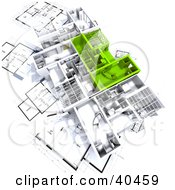 Clipart Illustration Of Green And White 3d House Floor Plans On Blueprints