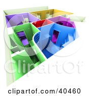 Clipart Illustration Of A Colorful 3d Home Floor Plan With Different Colored Rooms