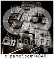 Clipart Illustration Of A 3d Negative Home Floor Plan