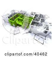 Clipart Illustration Of Green And White 3d Home Floor Plans On Blueprints