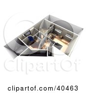 Clipart Illustration Of A 3d Apartment Interior Floor Plan With Furniture
