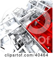 Clipart Illustration Of Red And White 3d House Floor Plans