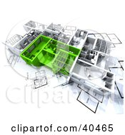 Clipart Illustration Of Green And White 3d Apartment With Room Plans