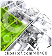 Clipart Illustration Of Green And White 3d Apartment Floor Plans On Blueprints
