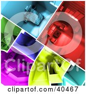 Clipart Illustration Of An Aerial View Of 3d Colorful Home Floor Plans