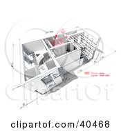 Clipart Illustration Of A 3d Custom Home Model With Sketches And Dimensions