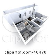 Clipart Illustration Of A 3d Floor Plan Of A Building With Bedrooms And Meeting Rooms