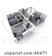 Clipart Illustration Of A 3d Floor Plan Of A Flat Building With Commercial Rooms And Bedrooms