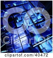 Clipart Illustration Of A Blue And Glowing 3d Loft Apartment Floor Plan
