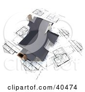 Clipart Illustration Of A 3d Home With Chimneys On Blueprints