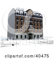 Clipart Illustration Of A 3d Apartment Building On Blueprints