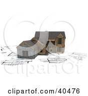 Clipart Illustration Of A Modern Wood And Stone 3d Home On Blueprints by Frank Boston