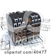 Clipart Illustration Of A 3d Apartment Building On Architectural Plans