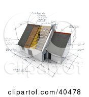 Clipart Illustration Of A 3d House With Sketches And Notes by Frank Boston #COLLC40478-0095