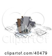 Clipart Illustration Of A Model 3d Modern Home With Chimneys On Blueprints