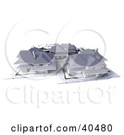 Clipart Illustration Of 3d Neighborhood Homes On Blueprints