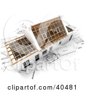 Clipart Illustration Of A 3d Home Ready For Roofing On Blueprints
