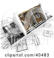 Clipart Illustration Of A 3d Home Model With Vaulted Ceilings On Blueprintss by Frank Boston